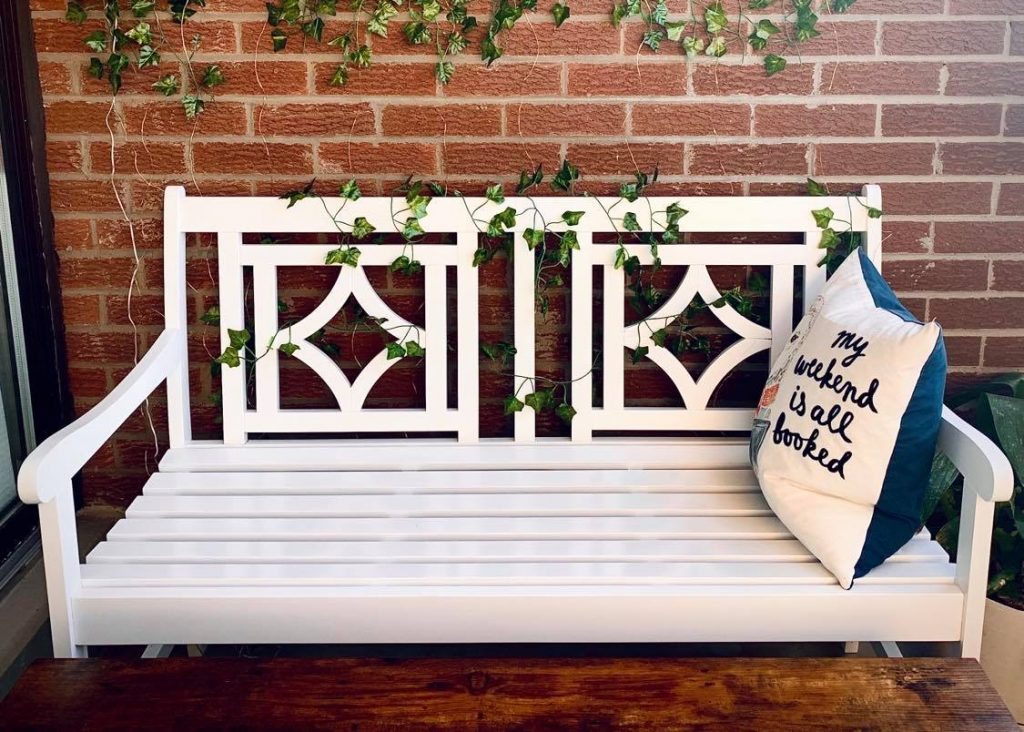A white garden bench for your Pinterest worthy balcony